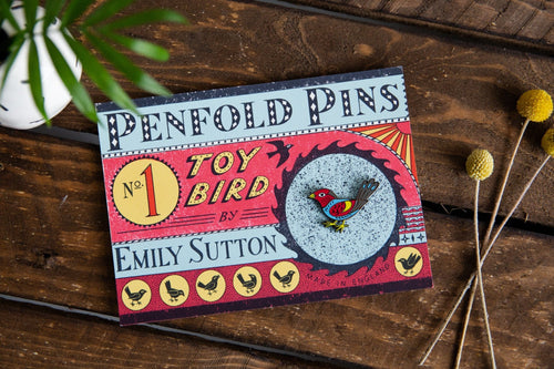 Penfold Pin number 1, Toy Bird by Emily Sutton.
