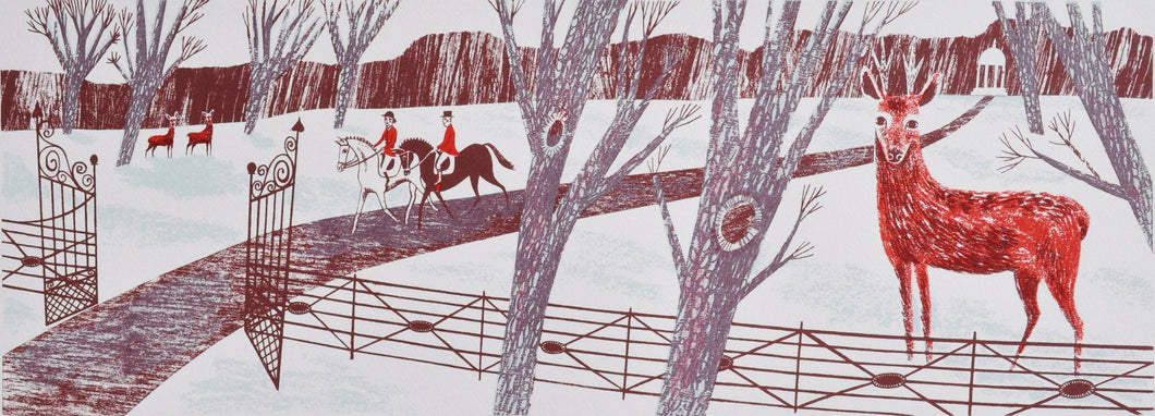 Winter Deer, an original screen print by Emily Sutton and the Penfold Press