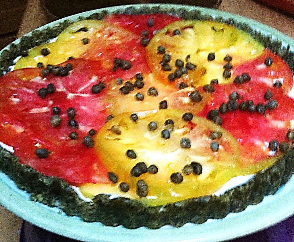 Heirloom Tomato and Pesto Ricotta Cheese Tart