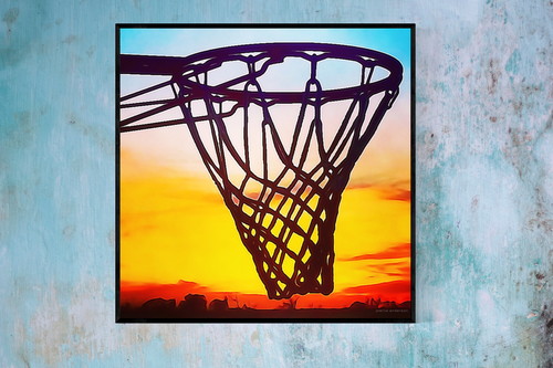 Basketball Hoop Art | Sunset Basketball Art