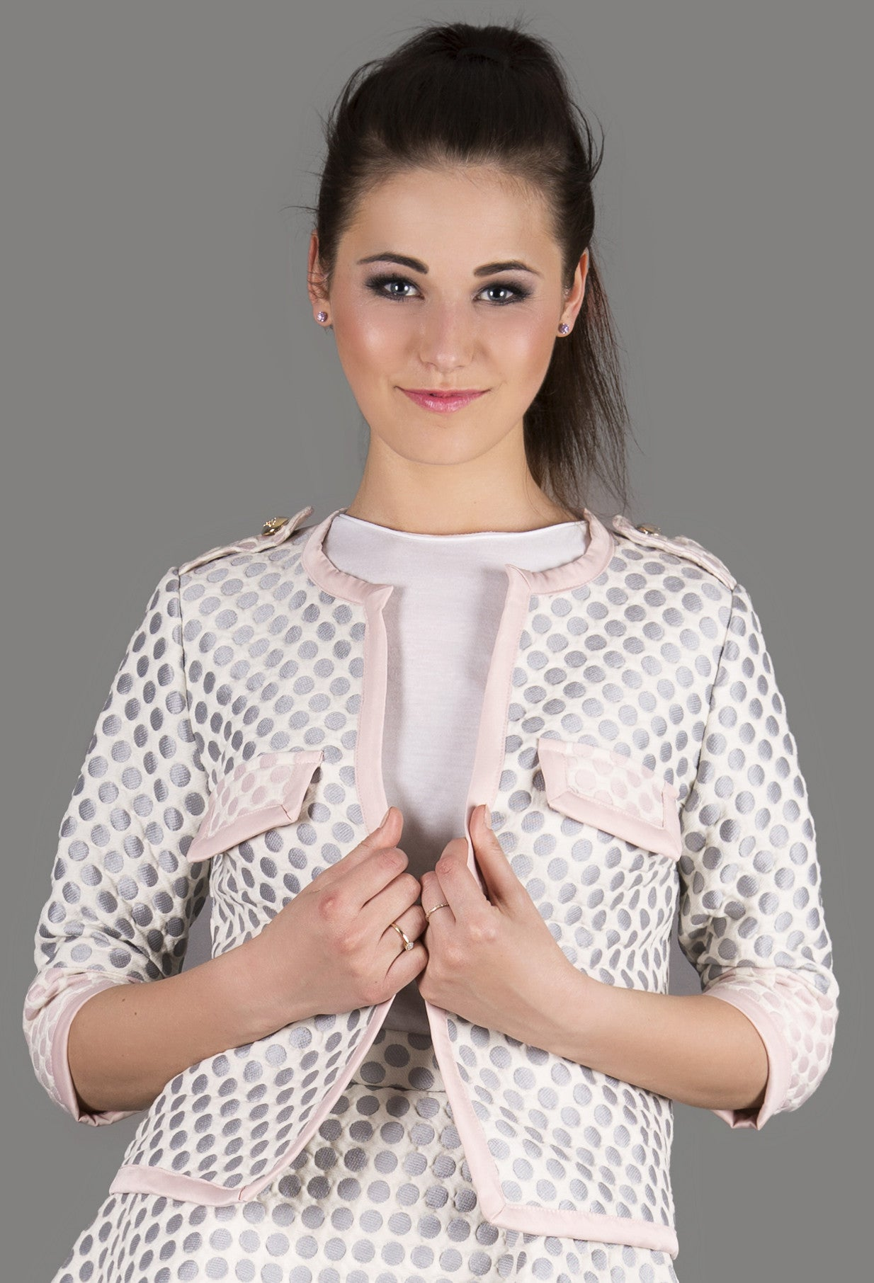 3D Grey Polka Dot Jacket