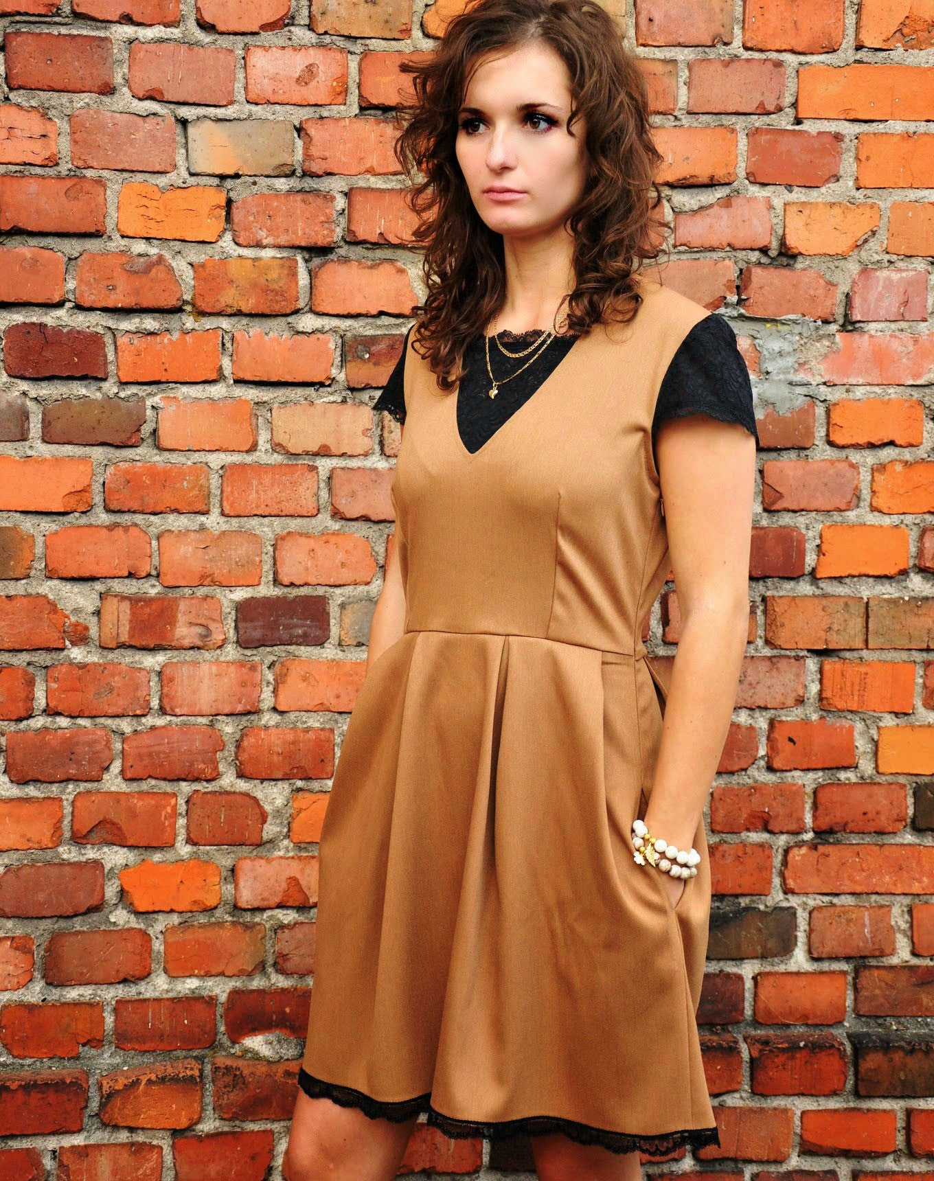 Lacy Camel Dress
