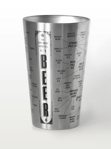 Beer Infographic Pint Glass: $18.95 (Stainless) or $15.95 (Glass)
