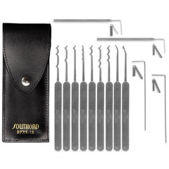 SouthOrd 13 Piece Pagoda Pick Set + Leather Case - UKBumpKeys
