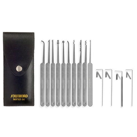 SouthOrd MPXS14 14 Piece Lock Pick Set - Stainless Steel Handles - UKBumpKeys
