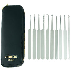 SouthOrd PXS-14 Lock Pick Set for Beginners with Black Grips + Wallet - UKBumpKeys