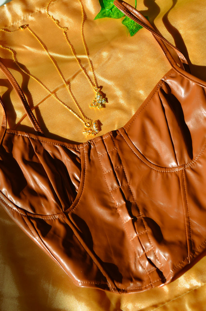 Load image into Gallery viewer, BROWN LEATHER CORSET TOP