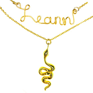Load image into Gallery viewer, personalized jewelry, gold custom necklace, customized necklace, name necklace, snake necklace