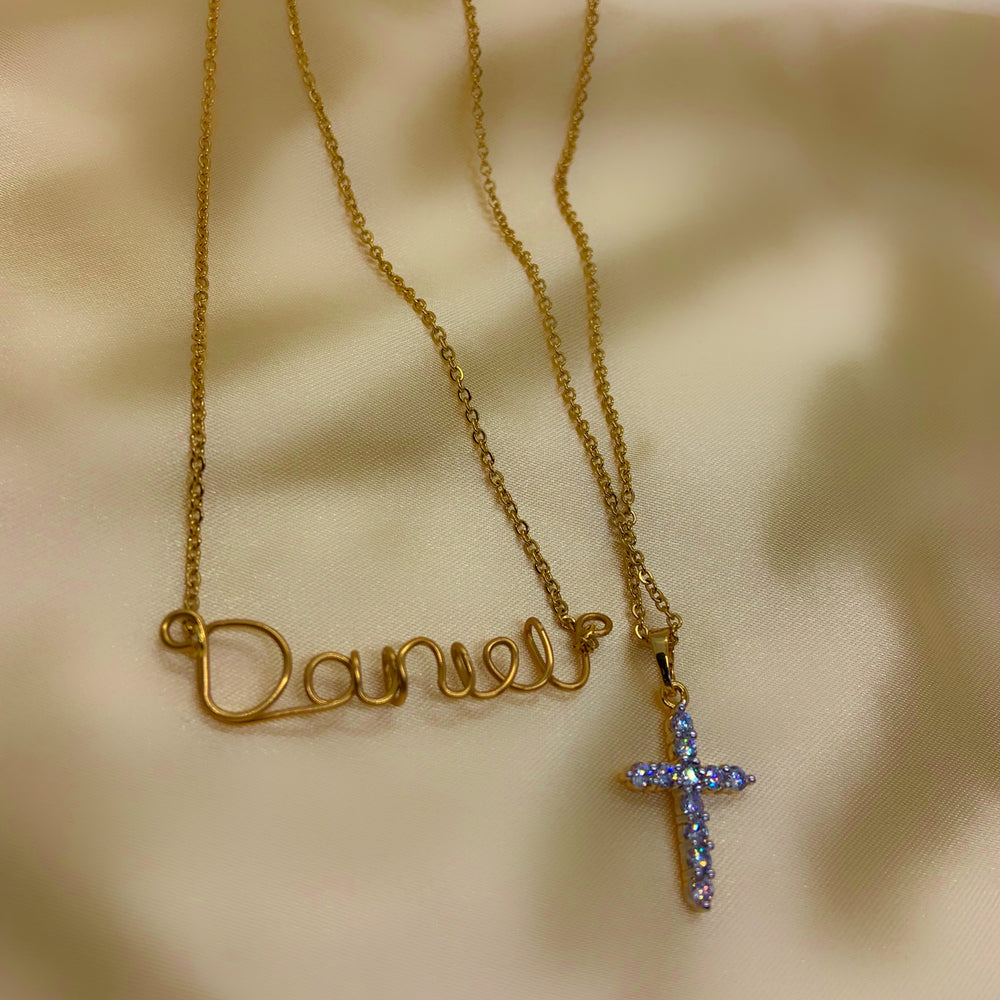 Load image into Gallery viewer, personalized necklace, cross necklace, name necklace, layered jewelry, cross jewelry