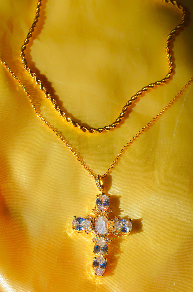 Load image into Gallery viewer, LAYERED DIAMOND PEARL CROSS NECKLACE