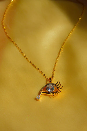 Load image into Gallery viewer, DIAMOND EYE NECKLACE-GOLD FILLED