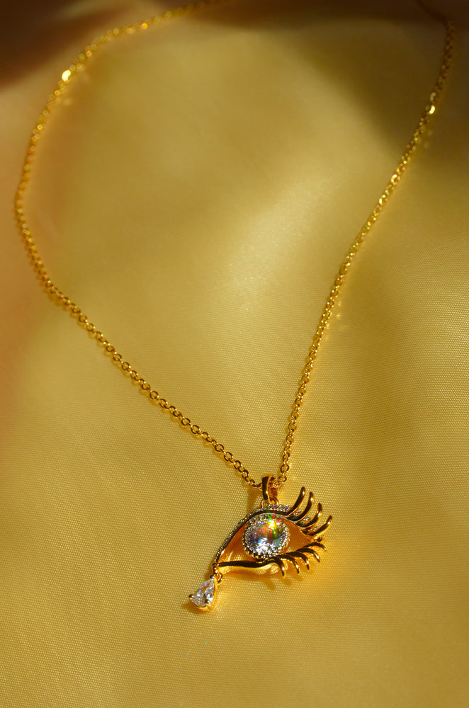 DIAMOND EYE NECKLACE-GOLD FILLED