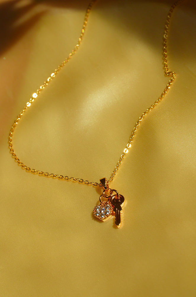 KEY TO MY HEART NECKLACE-GOLD FILLED