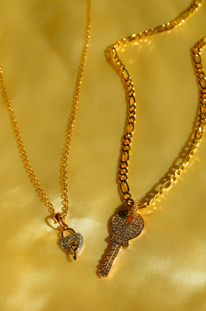 Load image into Gallery viewer, HEART & KEY - 2 PIECE SET - GOLD FILLED