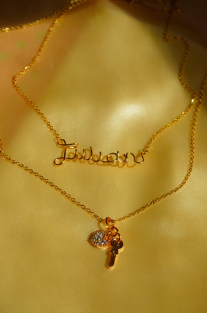 Load image into Gallery viewer, CUSTOM KEY TO MY HEART NECKLACE-GOLD FILLED