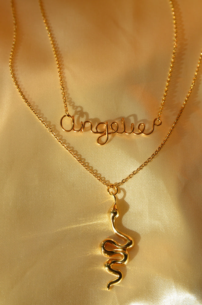 CUSTOM NAME + SNAKE NECKLACE