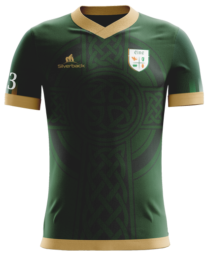 Ireland Green and Gold Celtic Cross Football Jersey