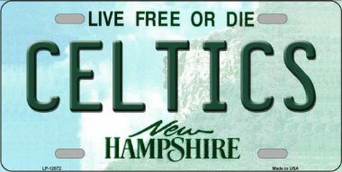 Celtics New Hampshire State Novelty Metal License Plate Tag