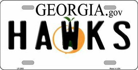 Hawks Georgia Novelty State Metal License Plate Tag