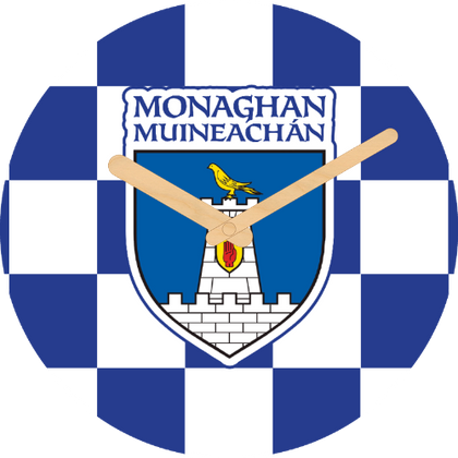 Monaghan Flag Large Rounded Wooden Clock-290mm diameter, 22mm thick
