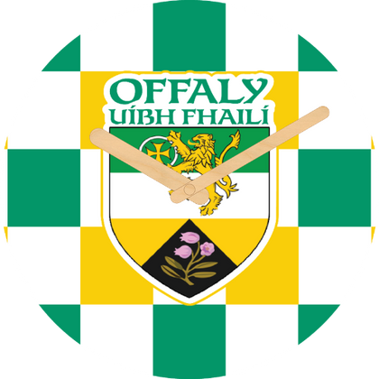 Offaly Flag Large Rounded Wooden Clock-290mm diameter, 22mm thick