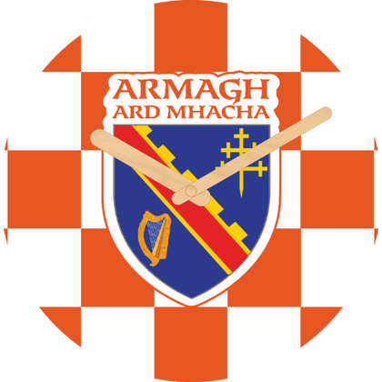 Armagh Flag Large Rounded Wooden Clock-290mm diameter, 22mm thick