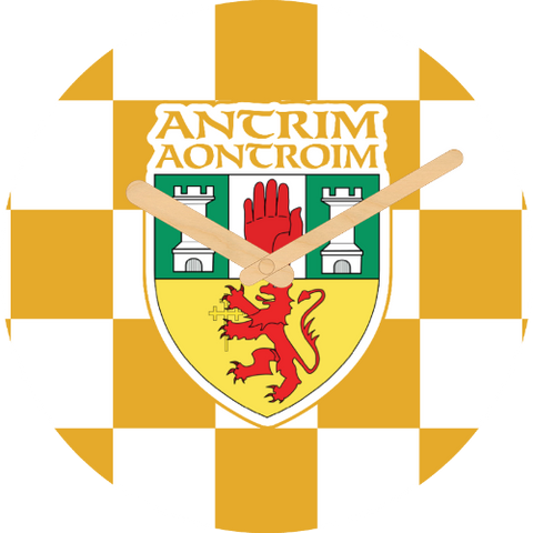 Antrim Flag Large Rounded Wooden Clock-290mm diameter, 22mm thick