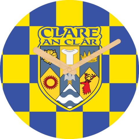 Clare Flag Large Rounded Wooden Clock-290mm diameter, 22mm thick
