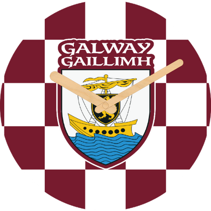 Galway Flag Large Rounded Wooden Clock-290mm diameter, 22mm thick