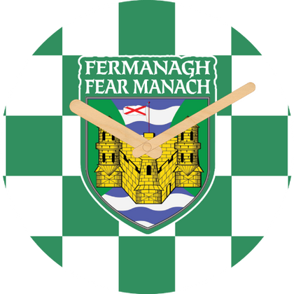 Fermanagh Flag Large Rounded Wooden Clock-290mm diameter, 22mm thick