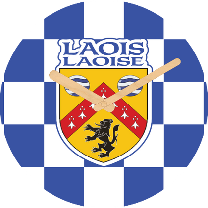 Laois Flag Large Rounded Wooden Clock-290mm diameter, 22mm thick