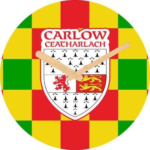 Carlow Flag Large Rounded Wooden Clock-290mm diameter, 22mm thick
