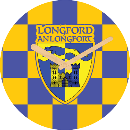 Longford Flag Large Rounded Wooden Clock-290mm diameter, 22mm thick