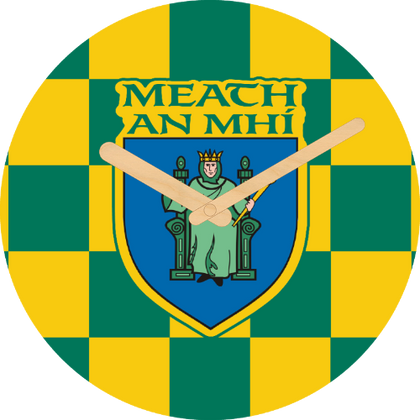 Meath Flag Large Rounded Wooden Clock-290mm diameter, 22mm thick