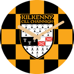 Kilkenny Flag Large Rounded Wooden Clock-290mm diameter, 22mm thick