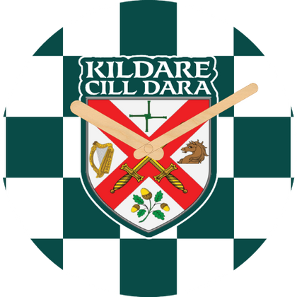 Kildare Flag Large Rounded Wooden Clock-290mm diameter, 22mm thick