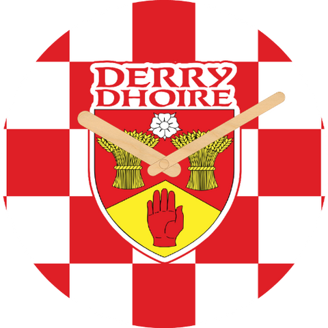 Derry Flag Large Rounded Wooden Clock-290mm diameter, 22mm thick