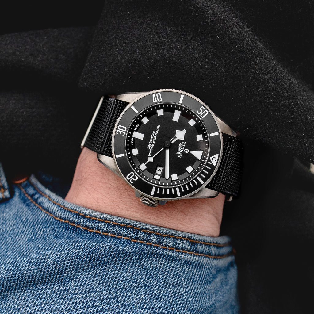 Elasticated MN watch strap and Tudor Pelagos in Black