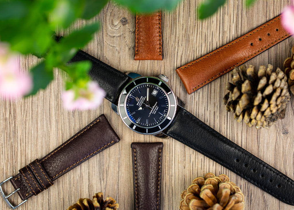 Selection of black, mocha and cognac organic watch straps by Rios1931