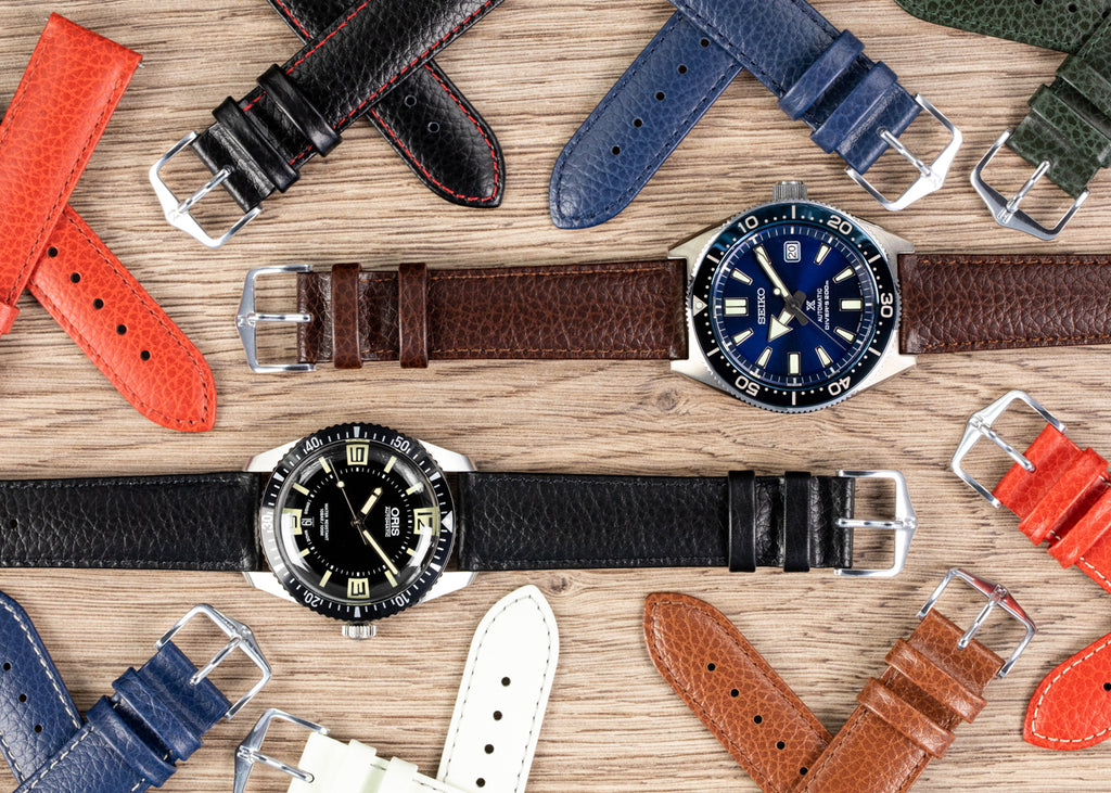 Hirsch Kansas selection of watch straps on Oris and Seiko watches