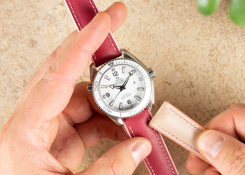 Ladies Omega Planet Ocean with pink watch strap