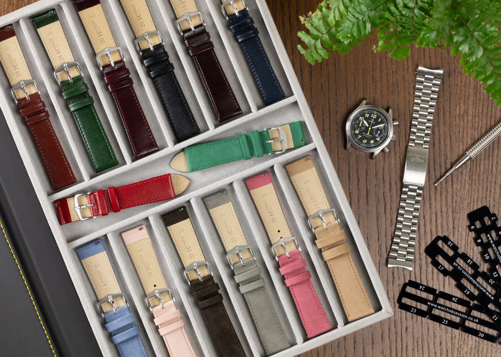 Hirsch Osiris selection in a strap tray and Omega Dynamic Chronograph