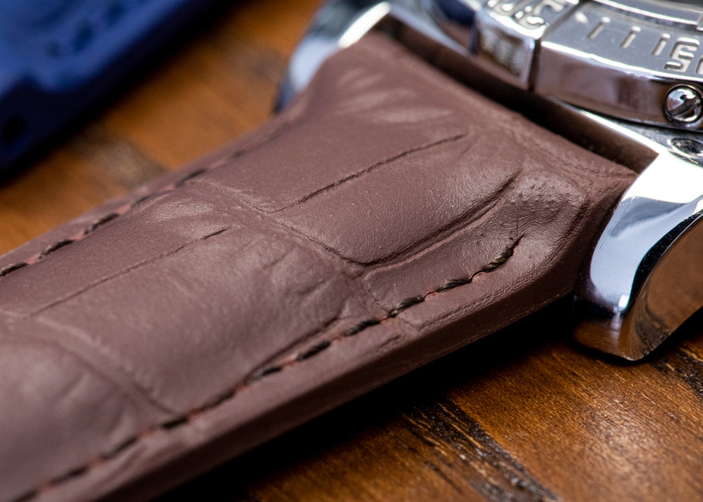 Brown rubber Alligator effect watch strap and Breitling watch