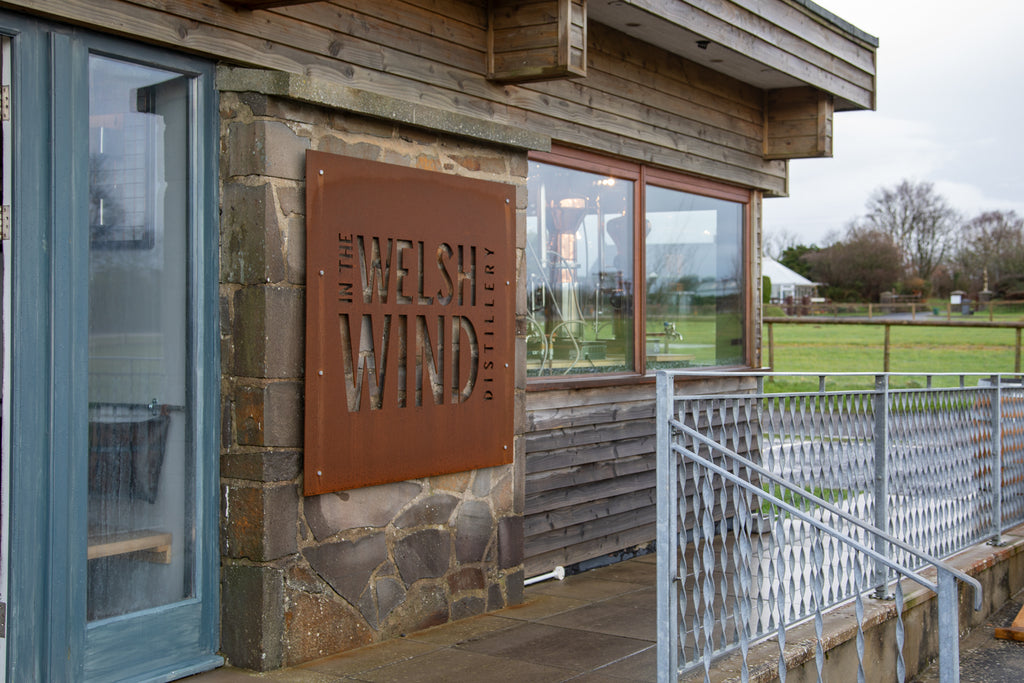 In the Welsh Wind distillery entrance