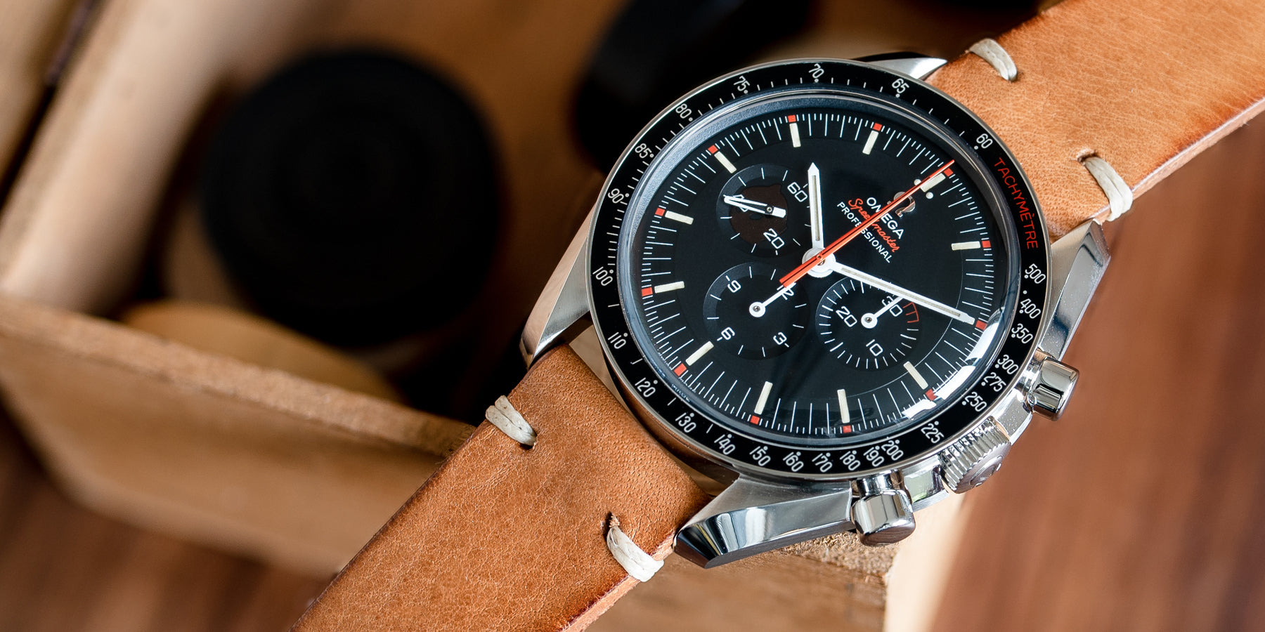 Omega Speedmaster Ultraman with 20mm lug width JPM Honey leather strap