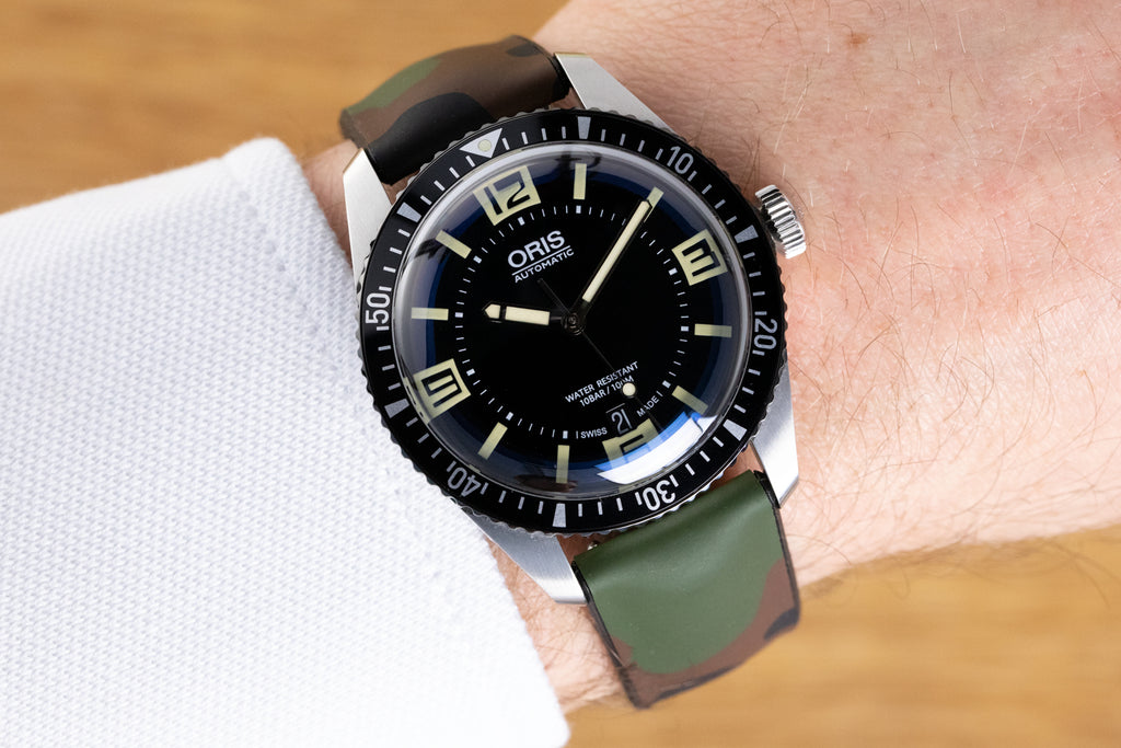 Oris 65 Diver and Hirsch John on the wrist with Farah polo shirt.