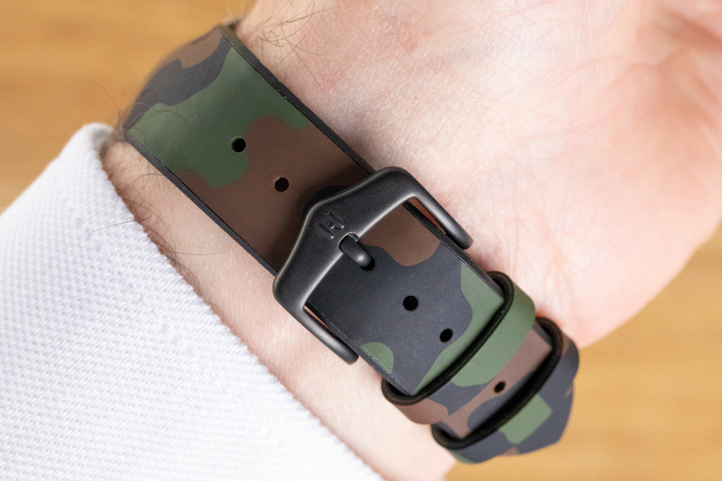 Green camouflage watch strap and black Hirsch HCB buckle