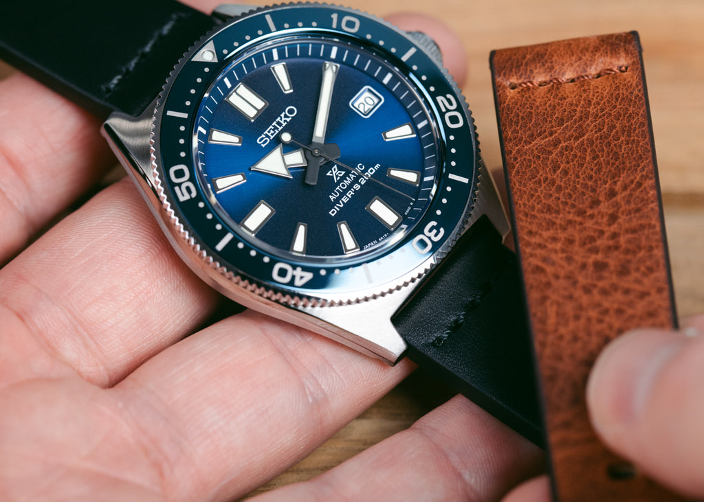 Seiko dive watch with casual watch strap by Morellato