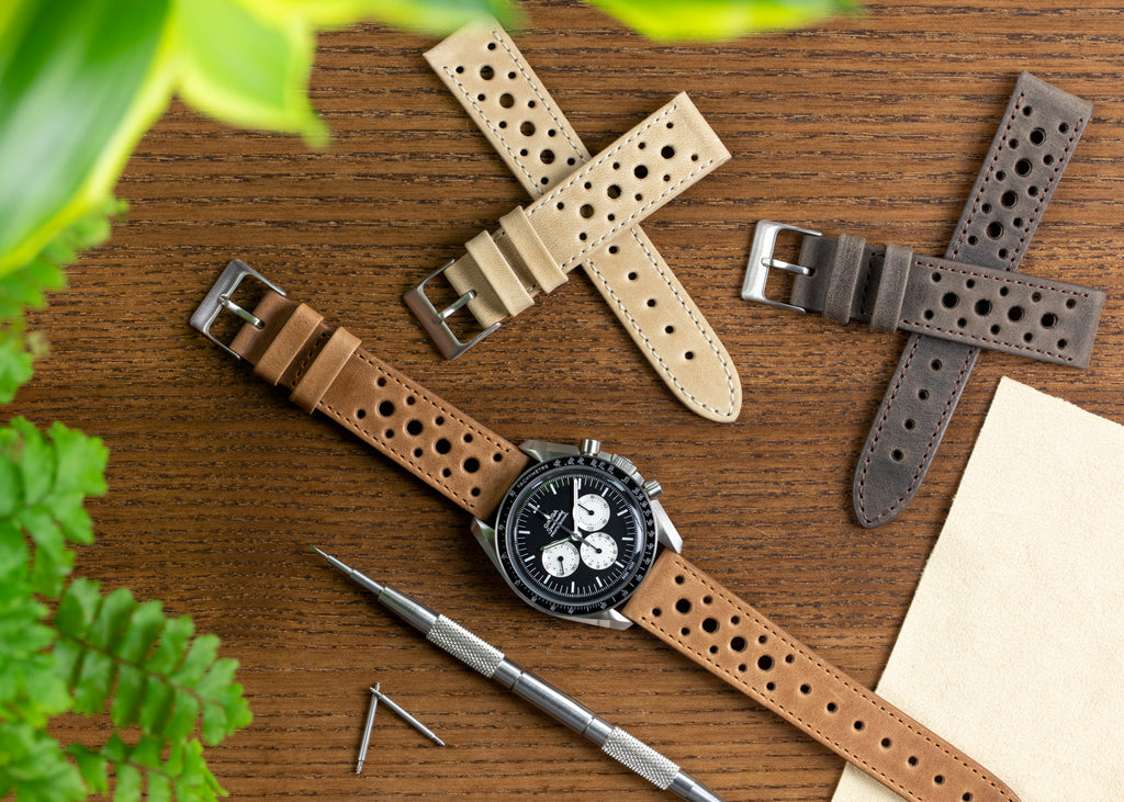 Pebro Premium Rally watch straps on Omega Speedmaster