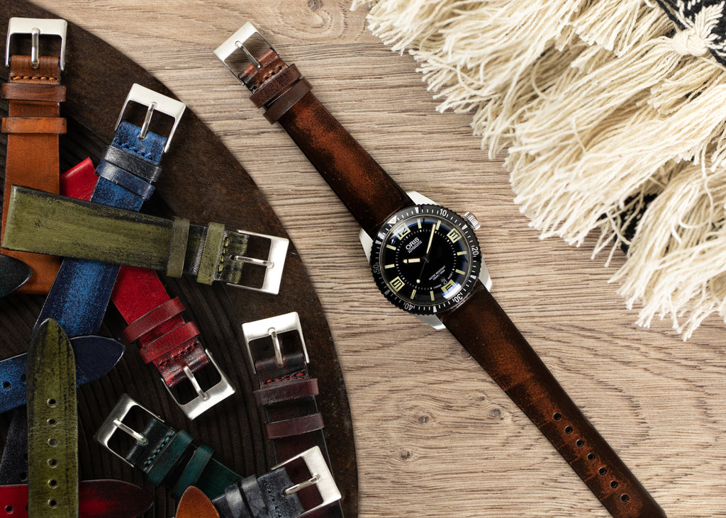 Smooth leather watch strap in Burgundy on Oris Diver